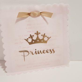 Προσκλητήριο φάκελος ροζ με χρυσή κορώνα Princess.