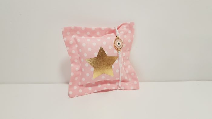Μαξιλαράκι φουσκωτό ροζ πουά με αστέρι χρυσό και βραχιολάκι με μάτι χρυσό για την μαμά