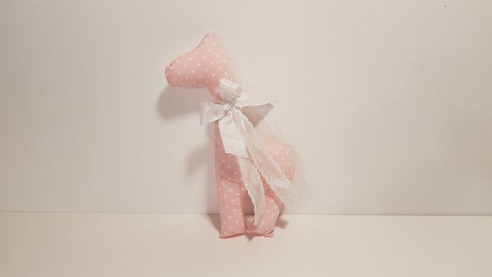 Καμηλοπάρδαλη μεγάλη φουσκωτή πουά ροζ-λευκή.